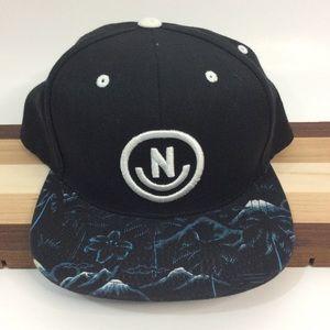 Neff Black Blue Tropical Scene Snapback Hat Cap
